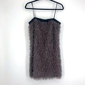 NWT Zara grey feather like mini dress med